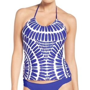 Trina Turk Algiers Halter Tankini Blue Swim Top